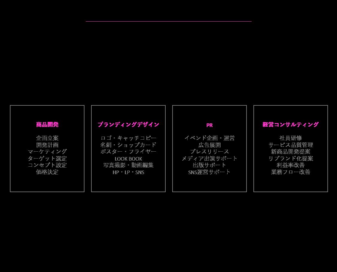 Wブランディングのコンサルティング領域 ブレない強さ=ブランドの強さ 商品開発から拡大まで全てをプロデュース 徹底的にサポートするので世界観にブレが出ません ブレずに貫き通して異彩を放つブランドを作っていきます 商品開発、ブランディングデザイン(ロゴ、名刺、LOOK BOOKなど)、 キャッチコピー、写真撮影・動画制作、WEB(HP、SNS)、 PR、広告展開、イベント企画、経営コンサルティング、人材育成 全てを一貫して手掛ける会社です商品開発 企画立案 開発計画 マーケティング ターゲット選定 コンセプト設定 価格決定ブランディングデザイン ロゴ・キャッチコピー 名刺・ショップカード ポスター・フライヤー LOOK BOOK 写真撮影・動画編集 HP・LP・SNSPR イベンド企画・運営 広告展開 プレスリリース メディア出演サポート 出版サポート SNS運営サポート経営コンサルティング 社員研修 サービス品質管理 新商品開発提案 リブランド化提案 利益率改善 業務フロー改善